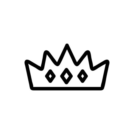 the tiara of the queen icon vector. A thin line sign. Isolated contour symbol illustration Ilustração