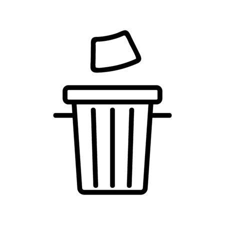 garbage urn icon vector. A thin line sign. Isolated contour symbol illustration