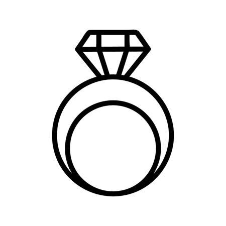 Diamond ring icon vector. A thin line sign. Isolated contour symbol illustration
