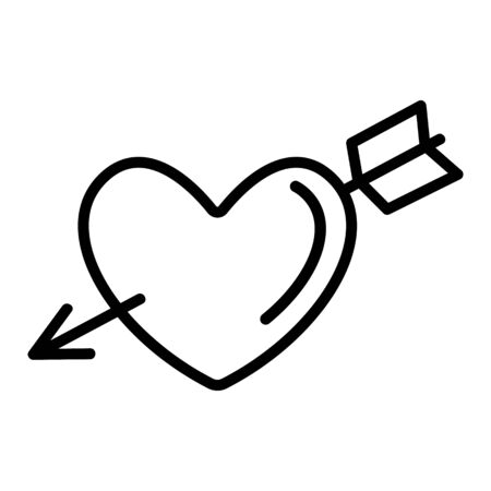 the heart-loving icon vector. A thin line sign. Isolated contour symbol illustration