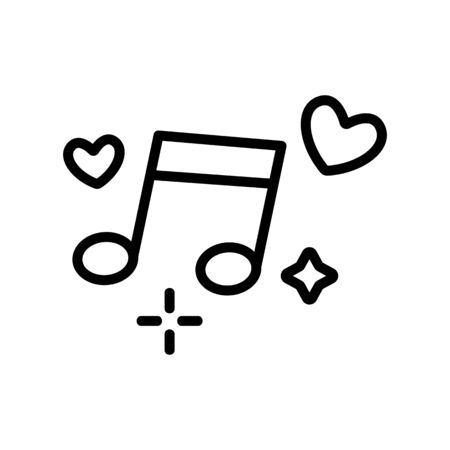 Wedding music icon vector. A thin line sign. Isolated contour symbol illustration Ilustração