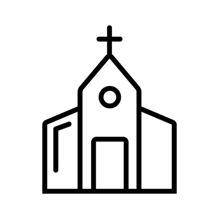 Church icon vector. A thin line sign. Isolated contour symbol illustration