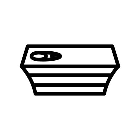 Canned fish icon vector. A thin line sign. Isolated contour symbol illustration