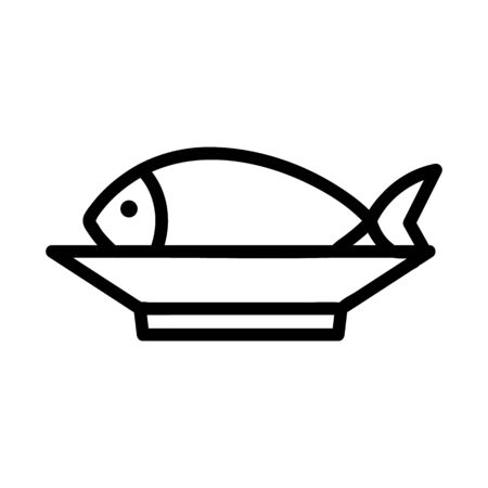 Fish Market icon vector. A thin line sign. Isolated contour symbol illustration