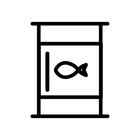 barrel with fish icon vector. A thin line sign. Isolated contour symbol illustration