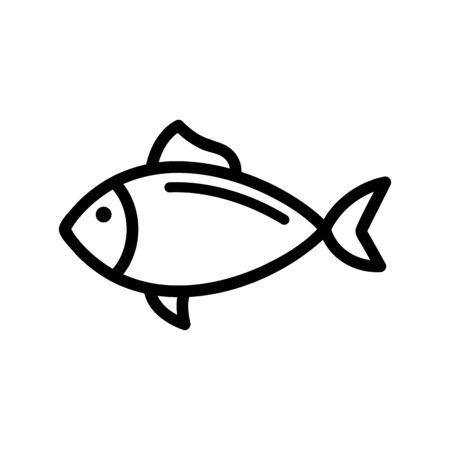 Pesce tonno vettore icona. Un segno di linea sottile. Illustrazione del simbolo di contorno isolato Vettoriali