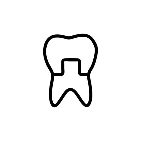 tooth restoration icon vector. A thin line sign. Isolated contour symbol illustration Illusztráció