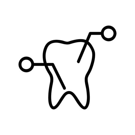 the composition of the tooth icon vector. A thin line sign. Isolated contour symbol illustration