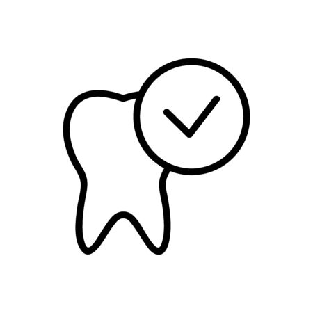 Cured tooth icon vector. A thin line sign. Isolated contour symbol illustration