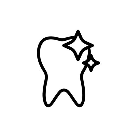 Healthy tooth icon vector. A thin line sign. Isolated contour symbol illustration Ilustração