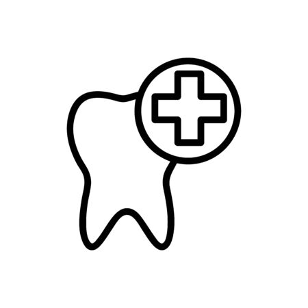 treatment of the tooth icon vector. A thin line sign. Isolated contour symbol illustration Ilustração
