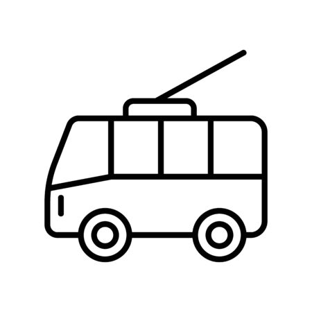 trolleybus urban vector icon. A thin line sign. Isolated contour symbol illustration