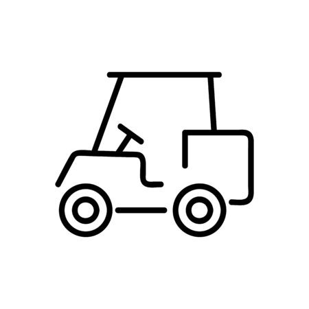 Golf car icon vector. A thin line sign. Isolated contour symbol illustration Vectores