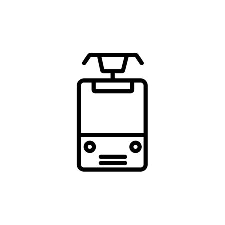 tram icon vector. A thin line sign. Isolated contour symbol illustration