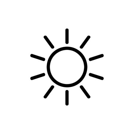 Sun icon vector. A thin line sign. Isolated contour symbol illustration