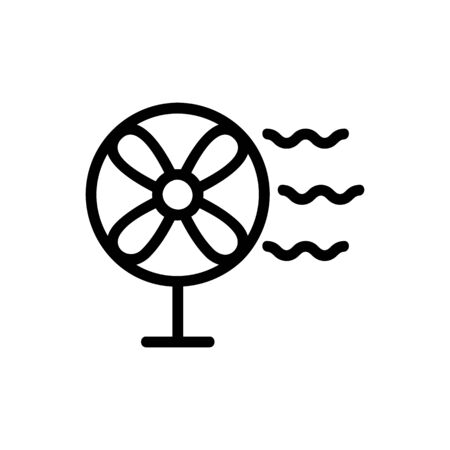 The fan runs the icon vector. A thin line sign. Isolated contour symbol illustration