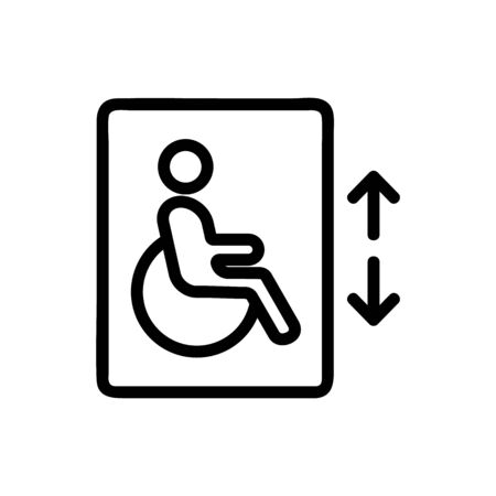 lift for the disabled vector icon. A thin line sign. Isolated contour symbol illustration