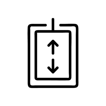 The elevator button is an icon vector. A thin line sign. Isolated contour symbol illustration Ilustração