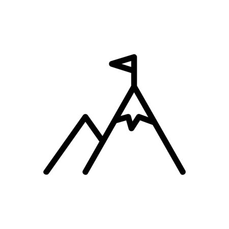 mountain and flag icon vector. A thin line sign. Isolated contour symbol illustration Ilustração