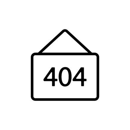 Error 404 vector icon. A thin line sign. Isolated contour symbol illustration