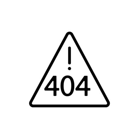 Error 404 vector icon. A thin line sign. Isolated contour symbol illustration