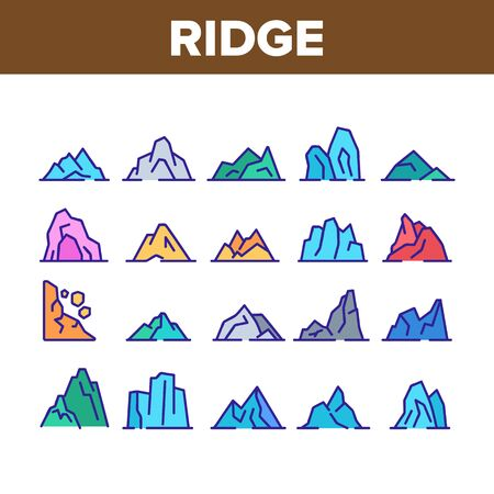 Ridge Different Form Collection Icons Set Vector Thin Line. Ridge Peak Climbs For Extreme Sport, Adventure And Expedition Concept Linear Pictograms. Color Contour Illustrations