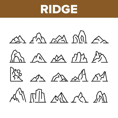 Ridge Different Form Collection Icons Set Vector Thin Line. Ridge Peak Climbs For Extreme Sport, Adventure And Expedition Concept Linear Pictograms. Monochrome Contour Illustrations