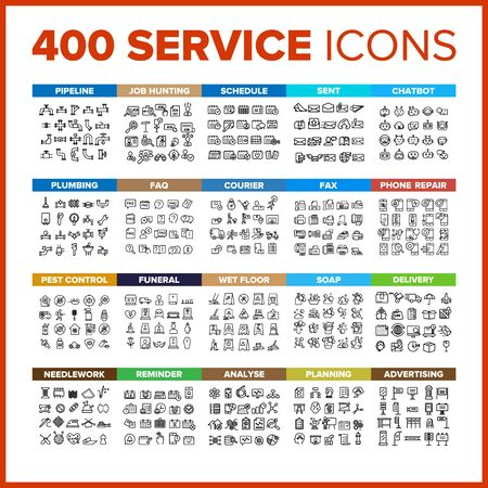 Service Icon Thin Line Big Set Vector. Service Symbol Package Bundle. Isolated Sign For Web Design Illustrations
