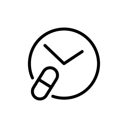 Time taking medication icon vector. A thin line sign. Isolated contour symbol illustration Stock Illustratie