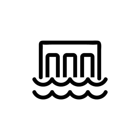 hydroelectric power station icon vector. A thin line sign. Isolated contour symbol illustration