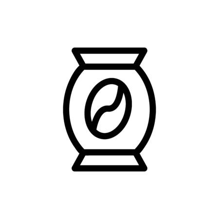 Bank with coffee vector icon. A thin line sign. Isolated contour symbol illustration