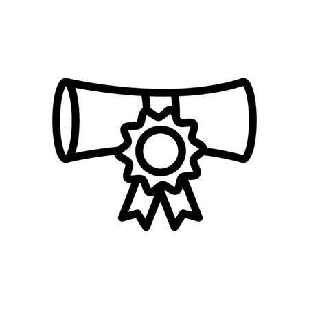 Diploma icona vettore. Un segno di linea sottile. Illustrazione del simbolo di contorno isolato