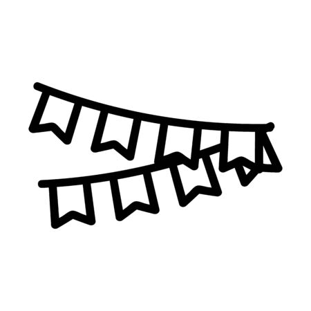Garlands to decorate the icon vector. A thin line sign. Isolated contour symbol illustration 일러스트