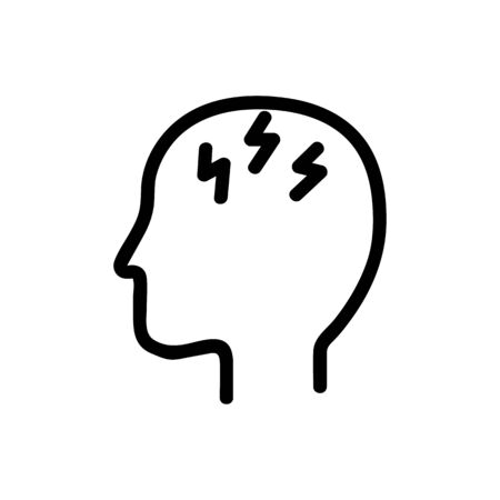Headache icon vector. A thin line sign. Isolated contour symbol illustration