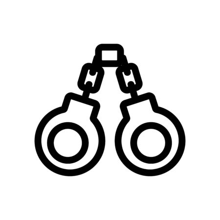 handcuffs icon vector. A thin line sign. Isolated contour symbol illustration