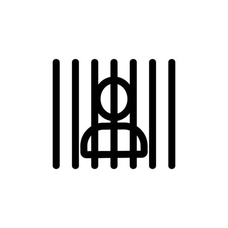 man in prison icon vector. A thin line sign. Isolated contour symbol illustration