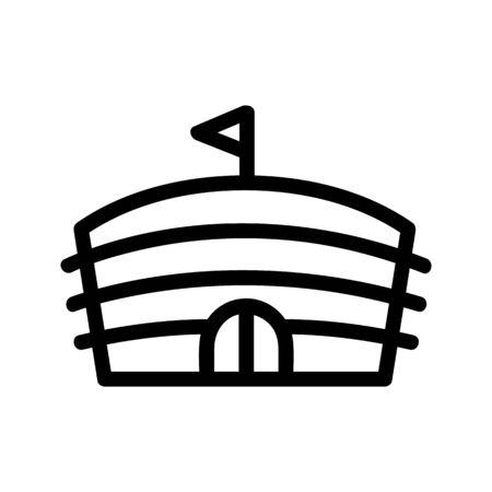 Stadion-Symbol-Vektor. Ein dünnes Linienzeichen. Isolierte Kontursymbolillustration Vektorgrafik