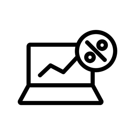 schedule discounts on the laptop icon vector. A thin line sign. Isolated contour symbol illustration