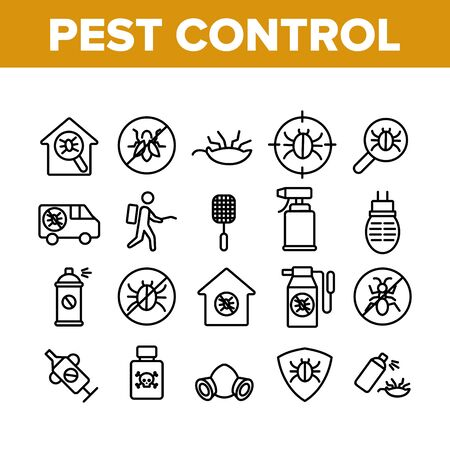 Pest Control Service Collection Icons Set Vector Thin Line. Insects Exterminator And Protection Mask, Bug And Mosquito, Anti Pest Mark Concept Linear Pictograms. Monochrome Contour Illustrations