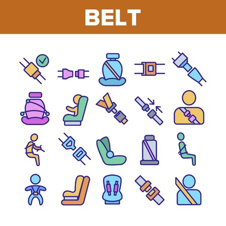 Belt Safety Equipment Collection Icons Set Vector Thin Line. Driver Strapped Car Seat Belt, Protection Automobile Device, Baby Chair Concept Linear Pictograms. Monochrome Contour Illustrations Ilustrace