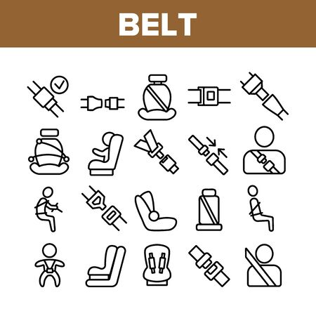 Belt Safety Equipment Collection Icons Set Vector Thin Line. Driver Strapped Car Seat Belt, Protection Automobile Device, Baby Chair Concept Linear Pictograms. Monochrome Contour Illustrations