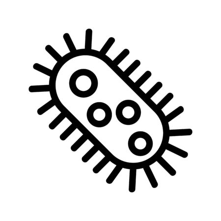 Bacterium icon vector. A thin line sign. Isolated contour symbol illustration