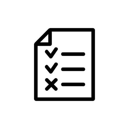 Fragebogen, um das Vektorsymbol auszufüllen. Ein dünnes Linienzeichen. Isolierte Kontursymbolillustration Vektorgrafik