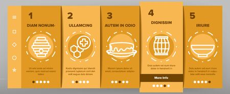 Honey Product Onboarding Mobile App Page Screen Vector. Bottle With Honey And Bee, Flower And Honeycomb, Hive And Beekeeper Illustrations