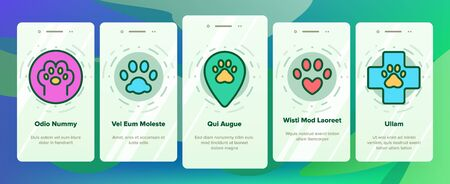 Paw Animal Onboarding Mobile App Page Screen Vector. Cat And Dog, Horse And Pig, Elephant And Bear Paw In Heart Form And Laptop Screen Illustrations