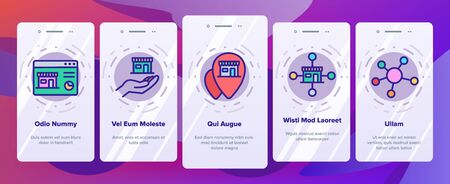 Franchise Onboarding Mobile App Page Screen Vector. Home Office And Corporate Headquarters, Globe With Gps Mark And Web Site Franchise Illustrations