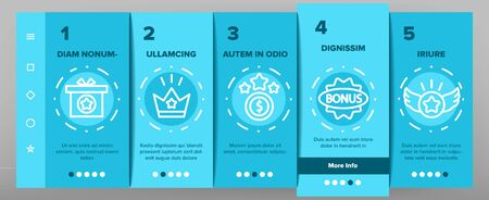 Bonus Loyalty Onboarding Mobile App Page Screen Vector. Dollar Mark On Rocket, Coins And Credit Card, Present Box And Crown Bonus Illustrations