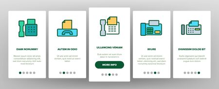 Fax Printer Onboarding Mobile App Page Screen Vector. Fax Telephonic Office Equipment For Print Message And Document Illustrations Illusztráció
