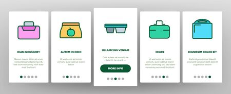 Lunch Box Onboarding Mobile App Page Screen Vector Plastic School Lunch Box And Container For Transportation Nutrition Illustrations