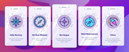 Compass Navigation Onboarding Mobile App Page Screen Vector. Compass Map Navigate Equipment And Cartography Mark Illustrations